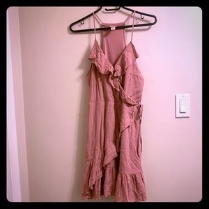 Pink mini dress with crepe paper like material